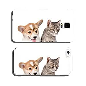 Pembroke Welsh Corgi puppy sitting with cat together and looking cell phone cover case Samsung S6