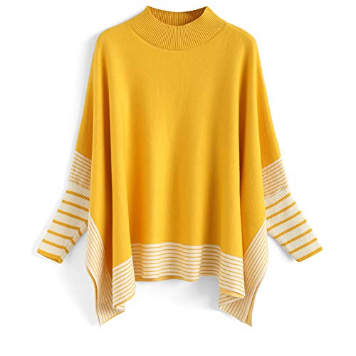 Chicwish Women's Mustard Striped Oversize Soft Knit Cape Sweater Pullover ()