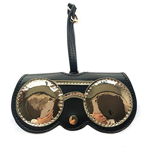 (Longjet Cute Sunglasses Organizer Case Hanging Leather Eyeglasses Bag Ornament Charms for Handbags (Round glasses))