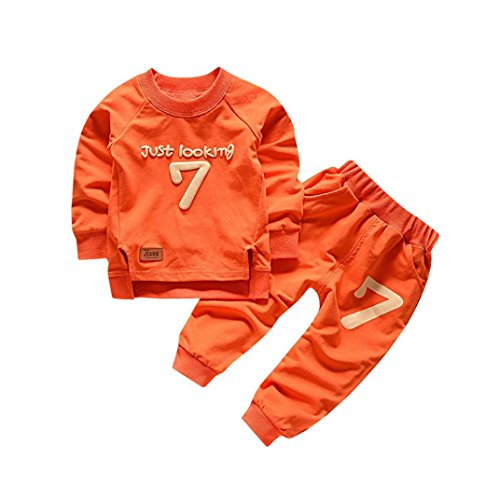 Fineser TM 2pcs Baby Boy Girl Long Sleeve Letter Print Cotton Soft and Cozy Sweatshirt + Pants Outfits Set (Orange, 18M)