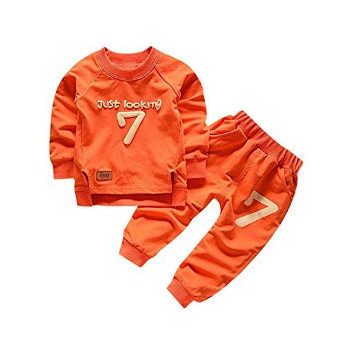 Cozy Outfit - Fineser TM 2pcs Baby Boy Girl Long Sleeve Letter Print Cotton Soft and Cozy Sweatshirt + Pants Outfits Set (Orange, 18M)