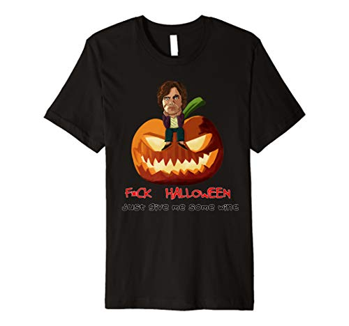 Halloween Funny Dwarf Wine Game Gift Idea Throne Pumpkin Premium T-Shirt