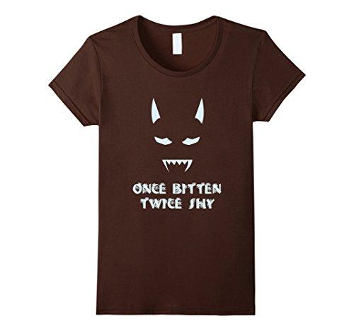 Women's Halloween Shirt Costume T Shirt Once Bitten Twice Shy Medium (Twice Bitten Costume)