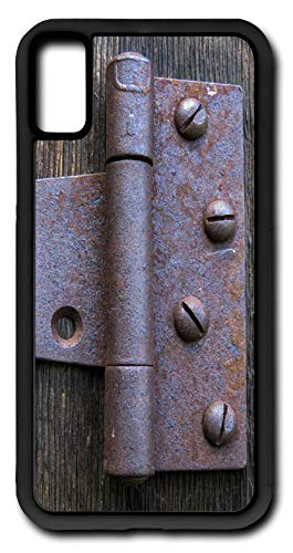 (iPhone Xs Case Old Hinge Vintage Grunge Metal Dirty Aged Patina Customizable by TYD Designs in Black Rubber)