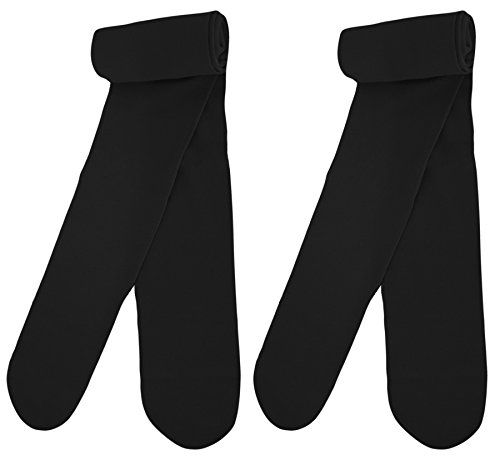 Country Kids Little Girls' Stretchy Pima Cotton Footed School Dance Pantyhose Tights, Pack of 2, Black, 12-15 years