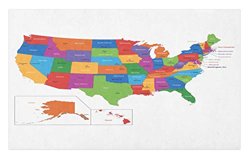 Ambesonne Wanderlust Doormat, Colorful USA Map with States
