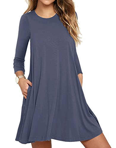 Muhadrs Women's Long Sleeve/Sleeveless Casual Loose Swing T-Shirt Dress (L, Purple Gray) ()