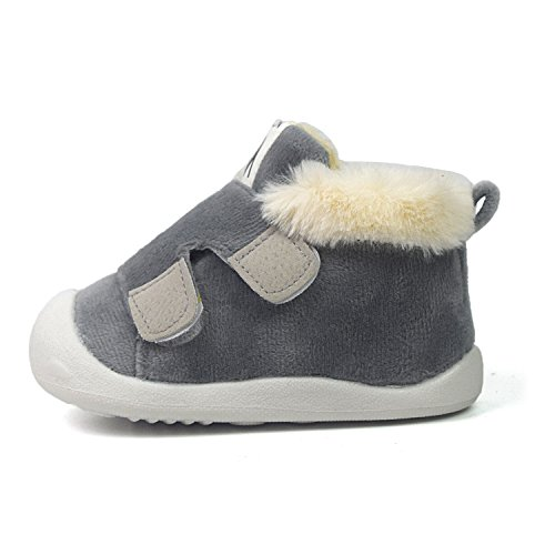 Z-T FUTURE Baby Boys Girls Snow Boots Double Velcro Kids Causal Winter Shoes With Warm Fleece (5 M US Toddler, Grey)