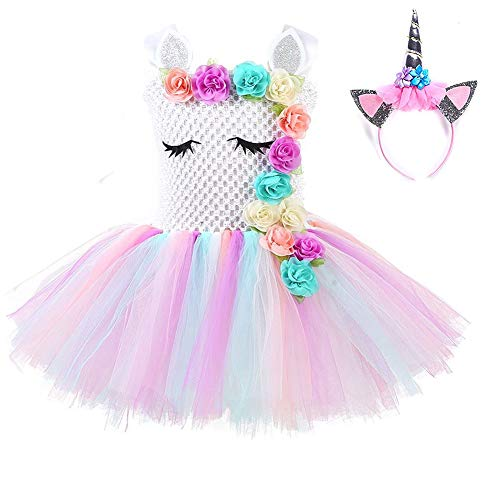 Unicorn Tutu Dress for Girls Birthday Party Dress Handmade Pastel Unicorn Costume Outfit with Headband white1 XL/7-8Y ()