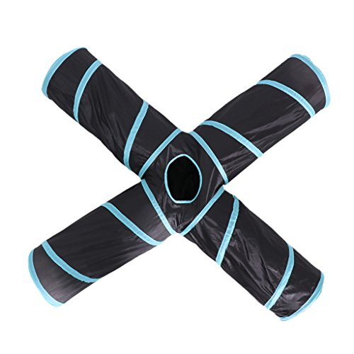 MagiDeal Cat Tunnel, Upgraded Collapsible 4 Way Crinkle Cat Toy Tube with 2 Suspended Ball Toys for Puppy, Cats, Dogs, Rabbits, Indoor/Outdoor Use by Unknown