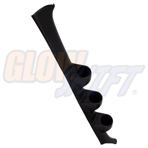 GlowShift Black Triple Pillar Gauge Pod for 1994-2001 Acura Integra - ABS Plastic - Mounts (3) 2-1/16