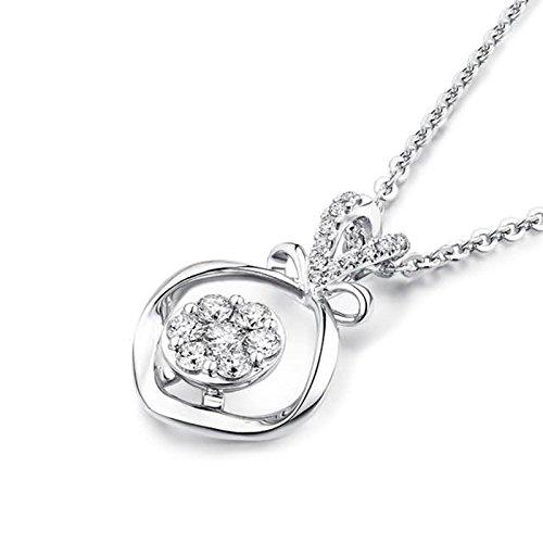 Adisaer 18k(750) White Gold Women Necklace 0.98g Love Knot Pendant Round Diamond Wedding Necklace by Adisaer (Image #2)