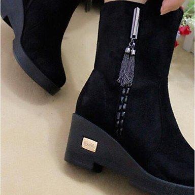 Botas de mujer primavera PU Confort Casual tejido negro, marrón oscuro Dark Brown