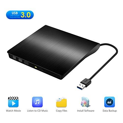 Yantop External DVD Drive, Portable USB 3.0 DVD CD Drive, External CD DVD Burner Writer Player for Apple Mac iMac Macbook Air/ Pro Acer Laptop Desktop PC, Support Windows 8/ 7/ XP/Vista, Black Apple Pc Macbook Laptops