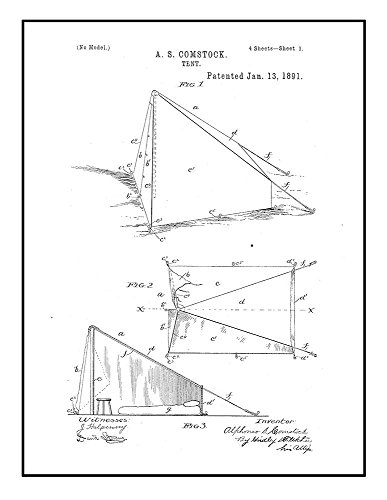 Frame a Patent Tent Patent Print Black Ink on White with Bor