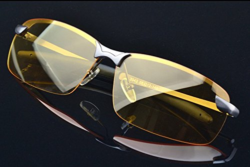 HD Night Vision Glasses Driving Aviator Sunglasses New UV400 Eyewear best for Men Women Driving Protection ()