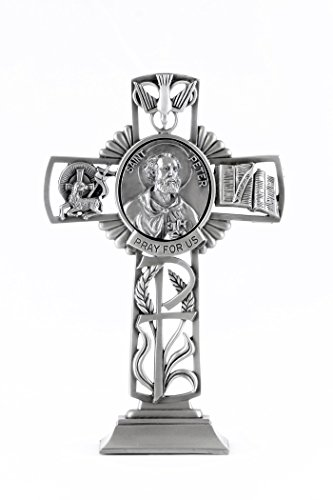 (Pewter Catholic Saint St Peter Pray for Us Standing Cross, 6 Inch)
