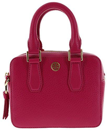 Tory Burch Landon Shrunken Boxy Satchel in Pebbled Leather, Style No 34014 (Carnation Red) (Shrunken Leather)
