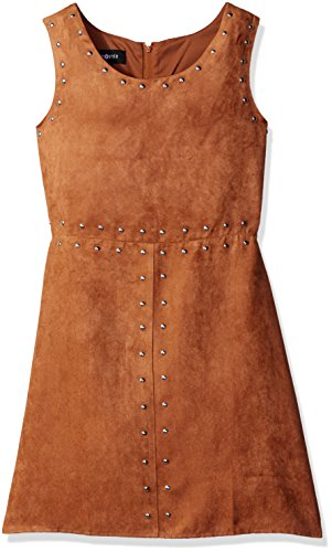 Amy Byer Girls' Big Knit Suede Fit and Flare Dress with Nailheads, Camel -