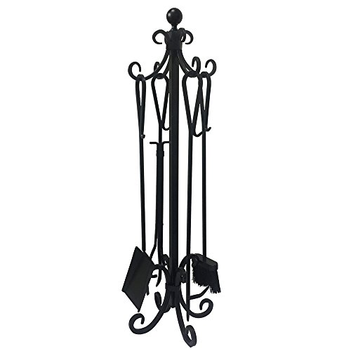 5 Pieces Fireplace Tools Black Handles Cast Iron Fire Place Toolset with Log Holder Modern Tool Set Rustic Tongs Shovel Antique Brush Chimney Poker Set Fireset Kit Accessories for Wood Stove Hearth