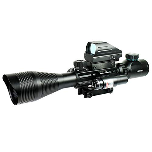 4-12x50 Dual Illuminated Scope with Dot Sight &Red Laser sight & 20mm mount