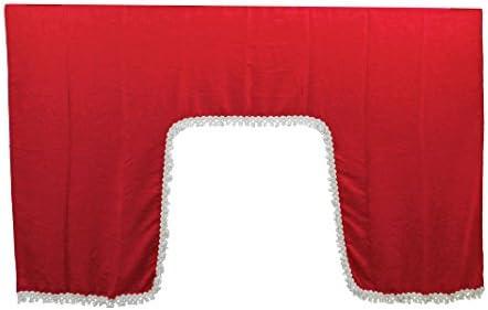 Autocommerse 5er Set Gardinen Querbehang Satin Mit Weißen Quasten Windschutzscheibe Frontblende 2 Seitenfenster Kissen Tunnelvorhang Universal Für Lkw Lkw Rot Auto