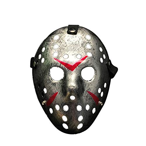 S.Charma Jason Mask Friday The 13th, Halloween Bleeding Hockey Adult Mask Porous Men Mask (Silver)]()
