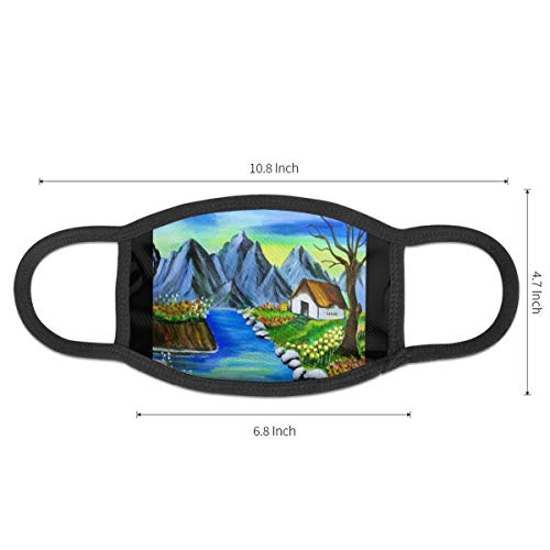 Dust Mask Simple Painting of Nature Scenery Antiviral Face Mask Cover Anti-dust Reusable Windproof Half Face Mouth Warm Masks for Ski Bicycle Cycling Motorcycle Women Men
