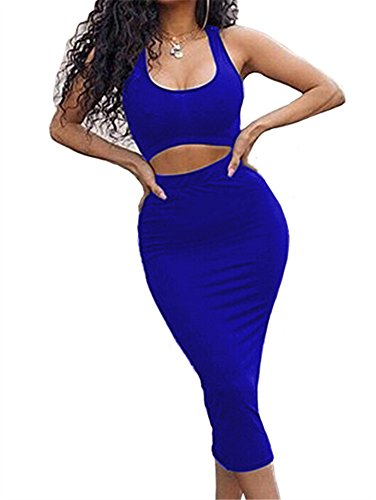 GOBLES Women's Sexy Summer Outfits Bodycon Tank Top Midi Skirt 2 Piece Dress Royal Blue