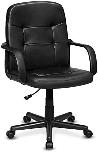 Giantex Executive Chair Mid Back Office W Arms and Swivel Wheels, Ergonomic PU Leather for Home Office Use Computer Desk Task Chair