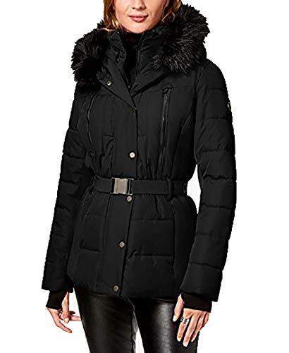 Michael Kors Belted Faux Fur Trim Puffer Coat-Black-XL