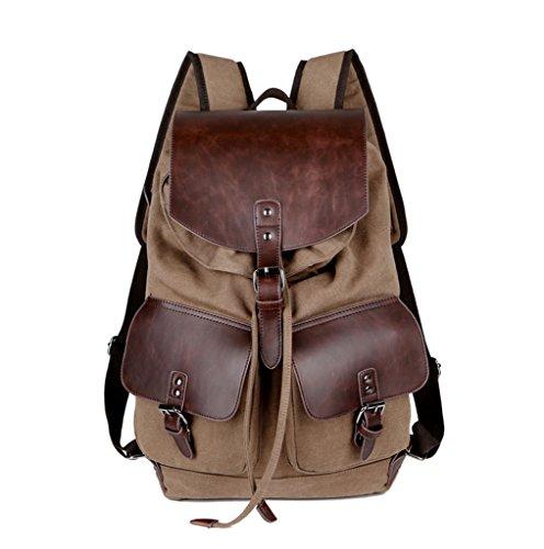Super moderne Vintage toile sac à dos mode étudiant ordinateur portable sac Bookbag école sac à bandoulière en cuir pour la randonnée, homme femme, café vert