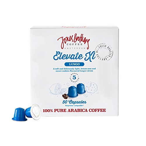 Price comparison product image 50 Jones Brothers Nespresso Compatible Coffee Capsules - Premium Quality 100% Pure Arabica - (ELEVATE - LUNGO,  INTENSITY:5,  Count:50 Pods)