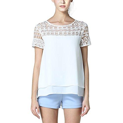 BLDO Women's Short Sleeve Lace Patchwork Short Loose Chiffon Blouse White