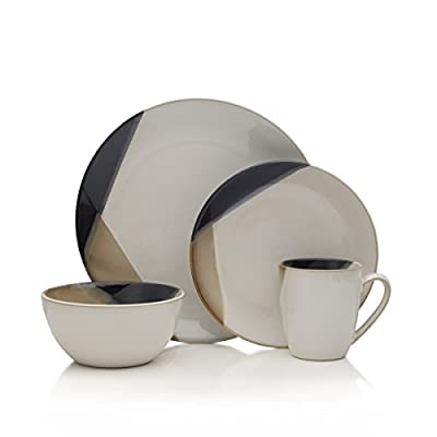 Gourmet Basics by Mikasa Caden 16-Piece Dinnerware Set, Service for 4 - ,Assorted - Unique black and Tan two tone Reactive color on product along outside of dinnerware with white glossy center 16-piece dinnerware set service for four includes 4 each of: 11-inch dinner plate, 8-1/2 inch Salad plate, 6-inch bowl and 14-ounce mug Made from high quality stoneware - kitchen-tabletop, kitchen-dining-room, dinnerware-sets - 41QuRj zhbL. SS400  -