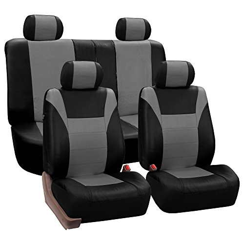 FH GROUP FH-PU003114 Racing PU Leather Full Set Car Seat Covers, Airbag Ready and Split, Gray / Black Color- Fit Most Car, Truck, Suv, or Van (2000 Acura Integra Seat Covers)