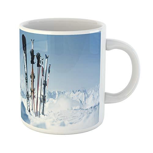 Snowboard Equipment Rentals - Semtomn Funny Coffee Mug Snowboard Skis in the Snow Equipment Rental Austria Winter Pitztal 11 Oz Ceramic Coffee Mugs Tea Cup Best Gift Or Souvenir