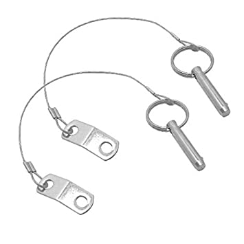 Pack Of 2 Plug Bolt With Safety Cable Stainless Steel Ring Bolt Flip