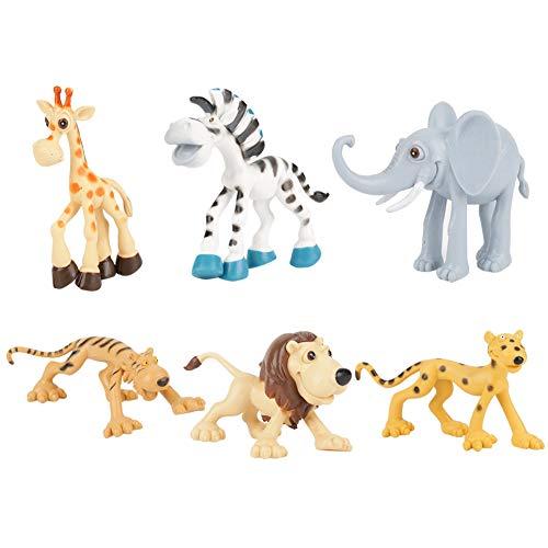 6 Unids Animal Figura Selva Animal Realista Bosque Salvaje Vinilo Animal para Niños Fiesta de Animal de Plástico Favors...