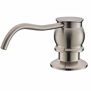 Comllen Antique Brushed Nickel Stainless Steel Countertop Kitchen Sink Soap Dispenser Built In Hand Liquid