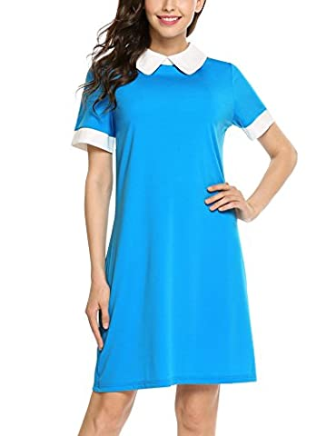 Zeagoo Women's Perter Pan Collar Short Sleeve Contrast Color Casual A line Dress Blue X-Large - Together Short Sleeve Dress