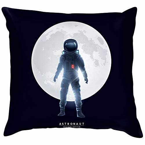 Astronaut Spaceman Stood Front Moon People Adult Technology Soft Cotton Linen Cushion Cover Pillowcases Throw Pillow Decor Pillow Case Home Decor 26X26 Inch -