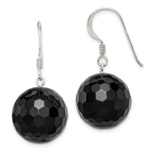 925 Sterling Silver 16.5mm Faceted Black Onyx Bead Drop Dangle Chandelier Earrings Fine Jewelry Gifts For Women For Her
