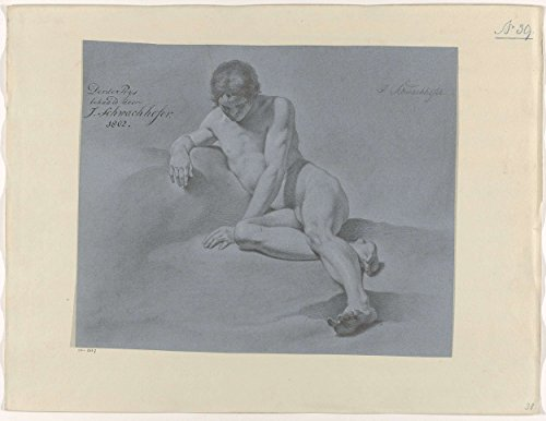"Classic Art Poster - Seated male nude, seen from the front (3rd prize in 1802), Johann Joseph Schwachhofer, 1802 18.5"" x 24"""
