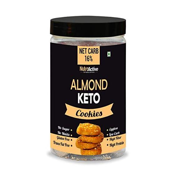 NutroActive Keto Almond Cookies, 1g Net Carb Per Cookie, Zero Sugar Gluten Free Snacks- 250gm