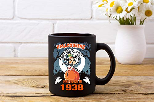 Halloqueens Are Born In 1938 Funny 80th Birthday Gift Coffee Mugs, Novelty Birthday Mugs For 80 Years Old Men And Women Halloween Mug, Witch Halloween Mug ()