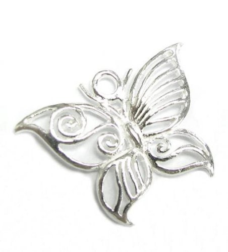 - 1 pc .925 Sterling Silver Filigree Butterfly Pendant Dangle Charm Bead 23mm / Findings / Bright