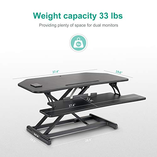 EleTab Electric Standing Desk Converter – Height Adjustable Sit Stand Desk Riser Stand up Desktop 37 inches Tabletop Workstation
