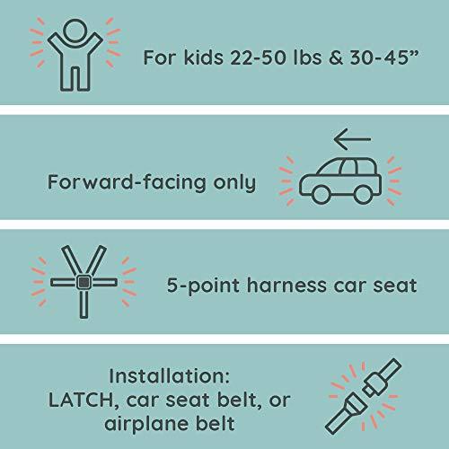 41QuTQPAAnL - WAYB Pico Travel Car Seat, Black | Portable And Foldable | Forward-Facing Convertible Car Seat | Toddler Car Seat | 5-Point Harness | Everyday, Carpool, Rideshare And Airplane