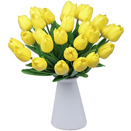 CountryGrass 24pcs Artificial Tulip Flowers Real Touch PU Tulips Floral Arrangement Yellow White Pink 14